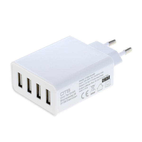 Ladeadapter USB - 5,0A 4-Port Multiadapter mit Auto-ID - weiß