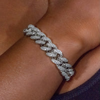 12mm White Gold Cuban Link Bracelet