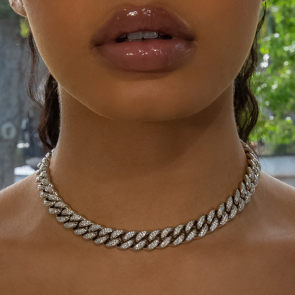 12mm White Gold Cuban Link Choker