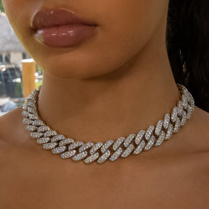 Load image into Gallery viewer, 18mm White Gold Flower Set Cuban Link Choker