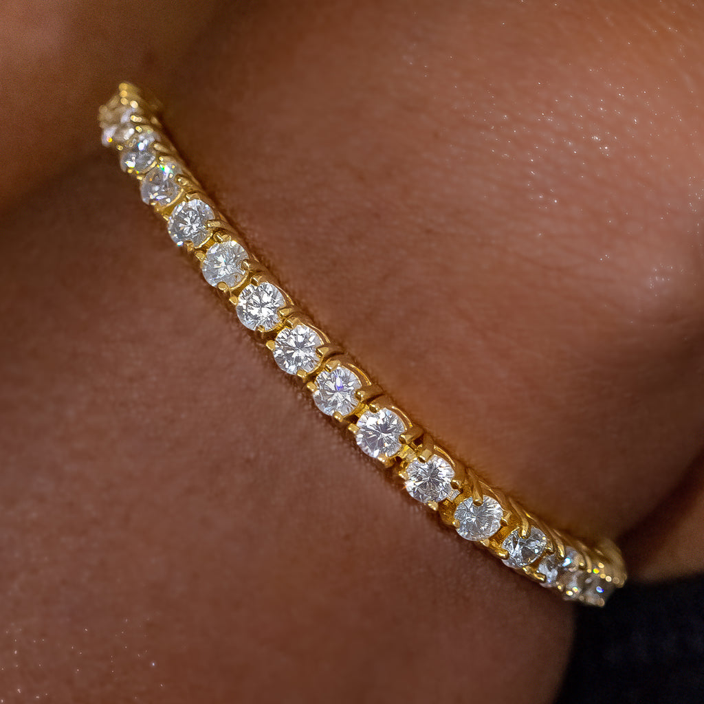4mm Yellow Gold Signature Tennis Bracelet