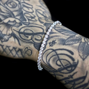Load image into Gallery viewer, 4mm White Gold Tennis Bracelet