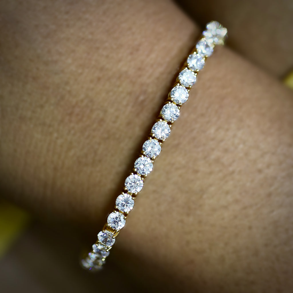 4mm Yellow Gold Tennis Bracelet