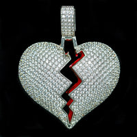 Iced Out Heart Pendant - White