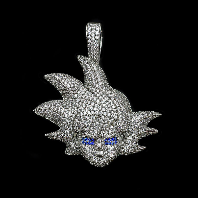 Iced Out Blue Eye Warrior Pendant - White