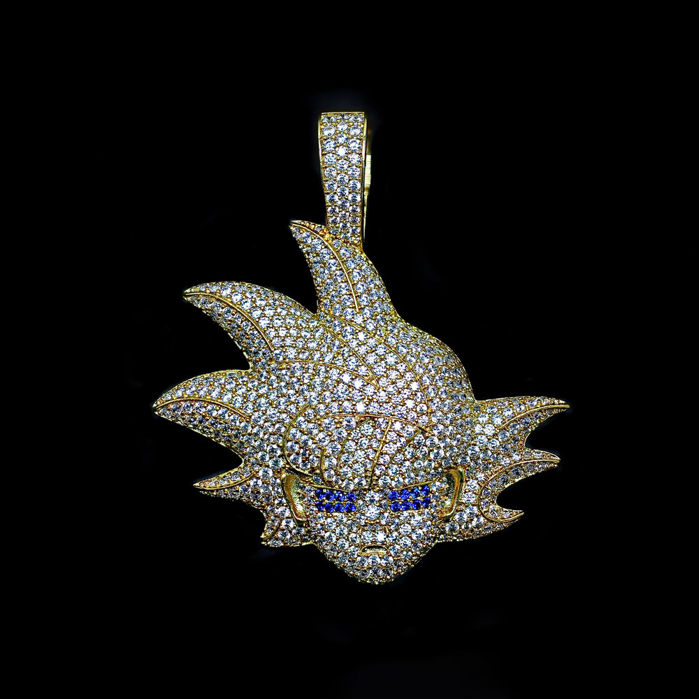 Iced Out Blue Eye Warrior Pendant - Yellow