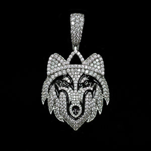 Iced Out Wolf Pendant - White