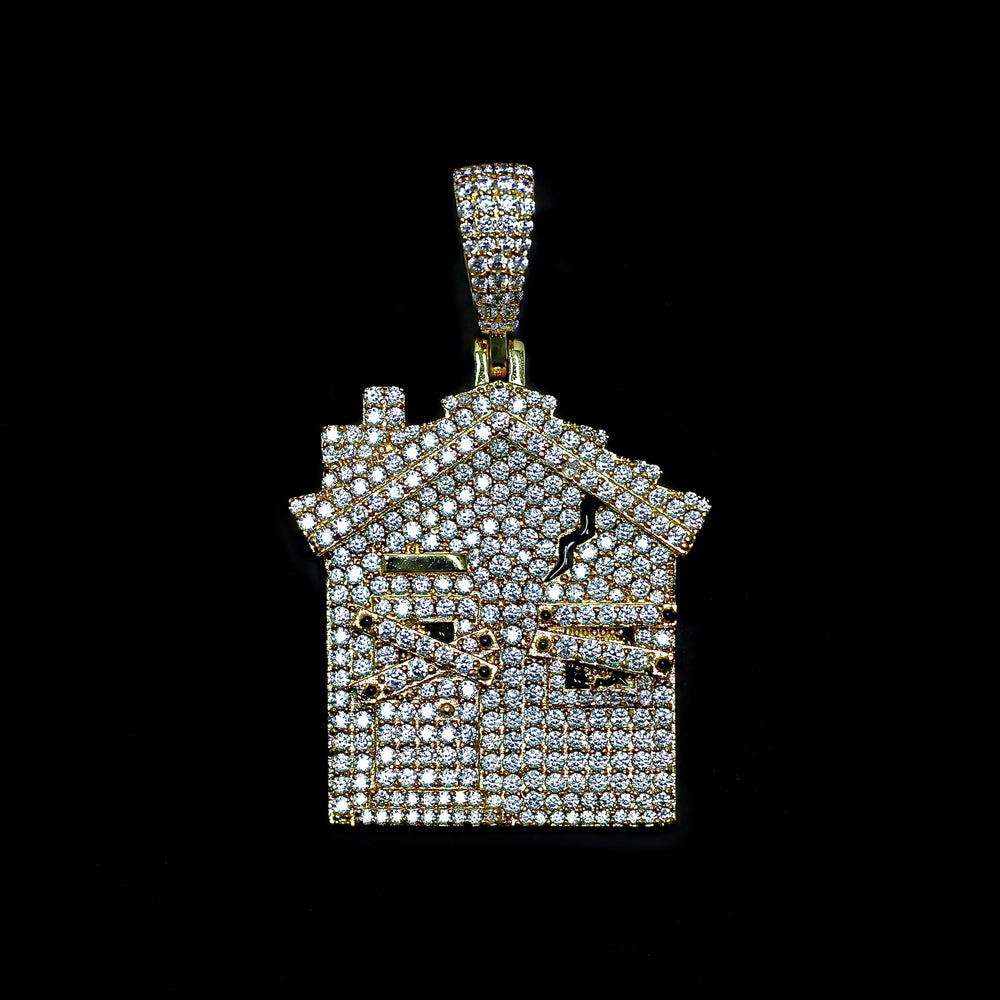 Iced Out Trap House Pendant - Yellow