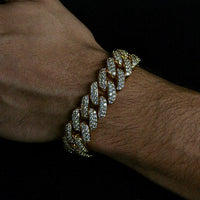 18mm Yellow Gold Flower Set Cuban Link Bracelet