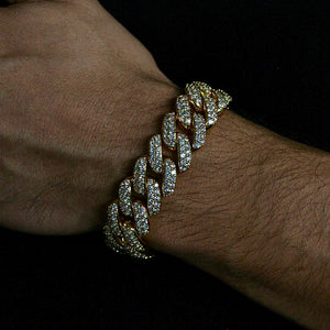 Load image into Gallery viewer, 18mm Yellow Gold Flower Set Cuban Link Bracelet