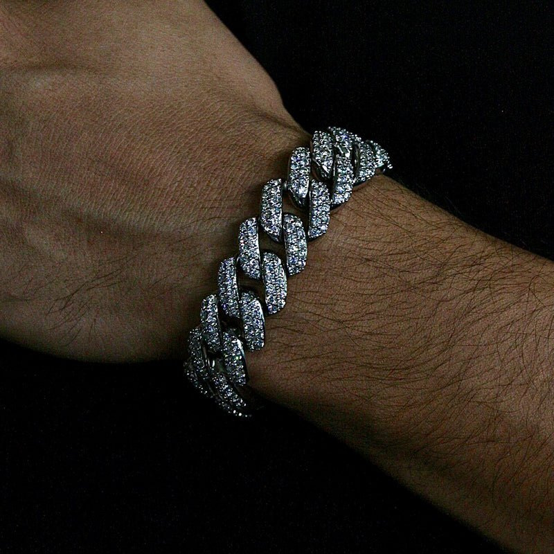 18mm White Gold Flower Set Cuban Link Bracelet