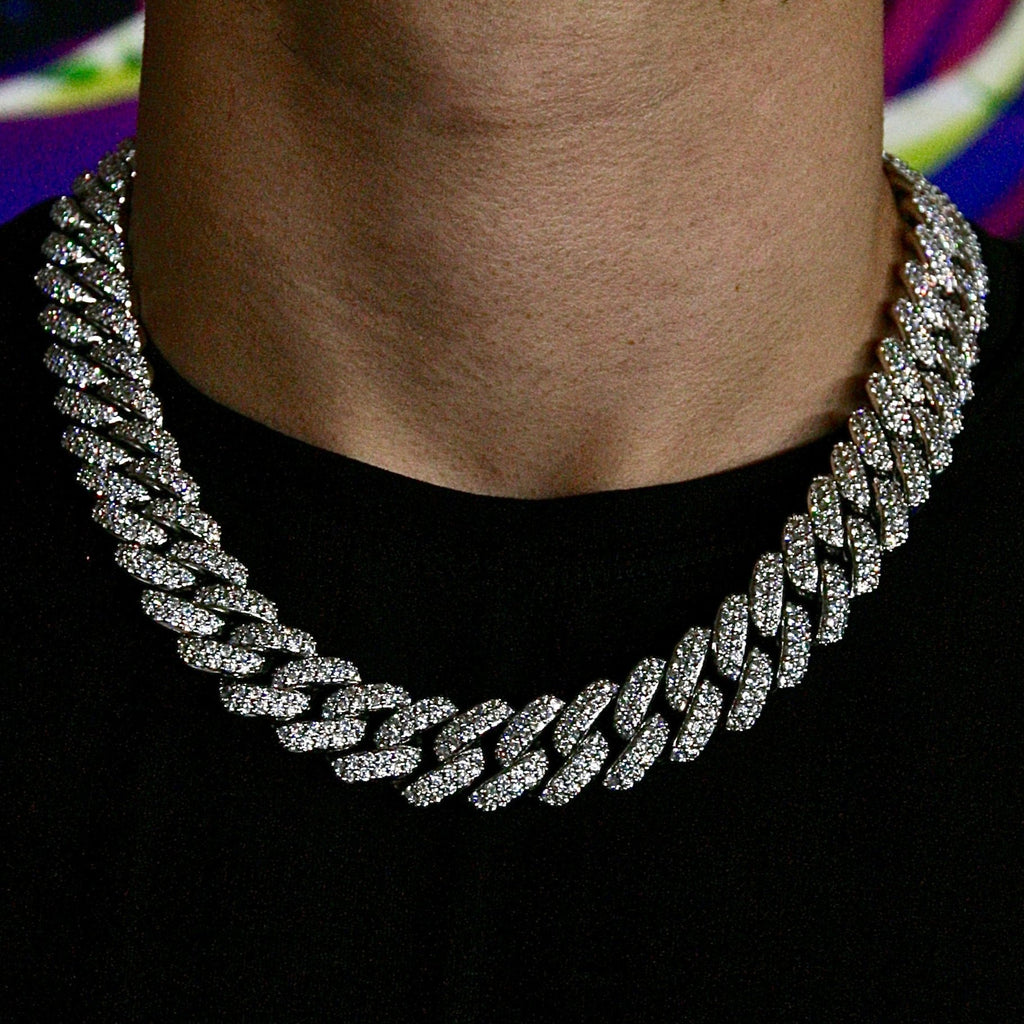 18mm White Gold Flower Set Cuban Link Chain