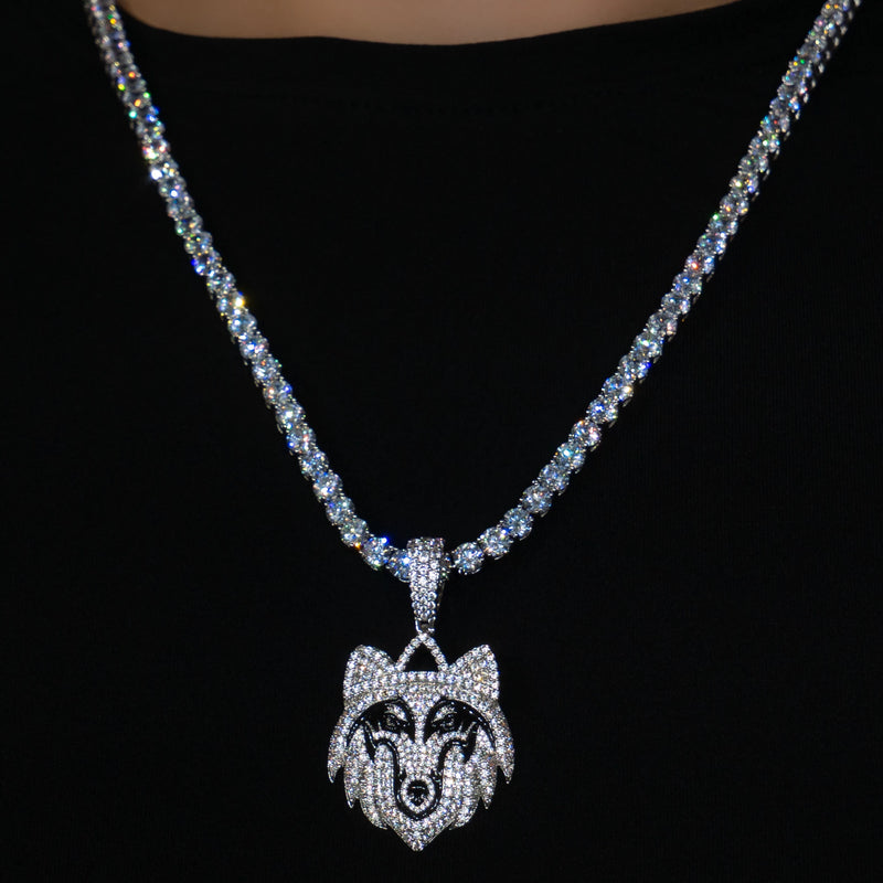 Iced Out Wolf in White Gold