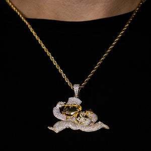 Iced Out Monopoly Man in Yellow Gold