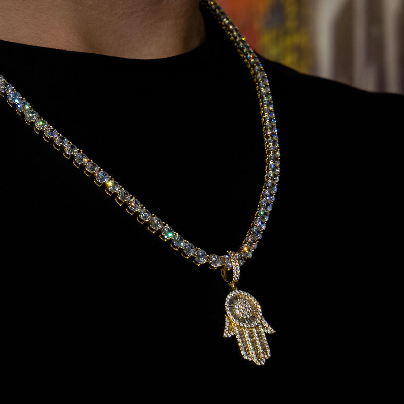 Iced Out Baguette Hamsa Hand in Yellow Gold