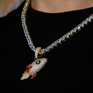 Iced Out Rocket Pendant - Yellow