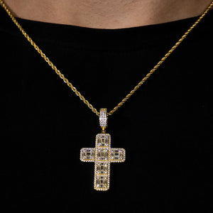Iced Out Baguette Cross in Yellow Gold