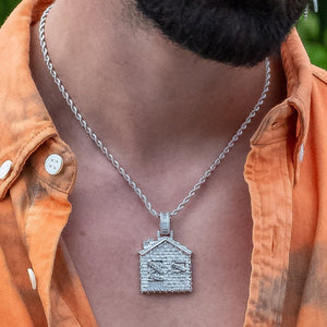 Iced Out Baguette Trap House in White Gold