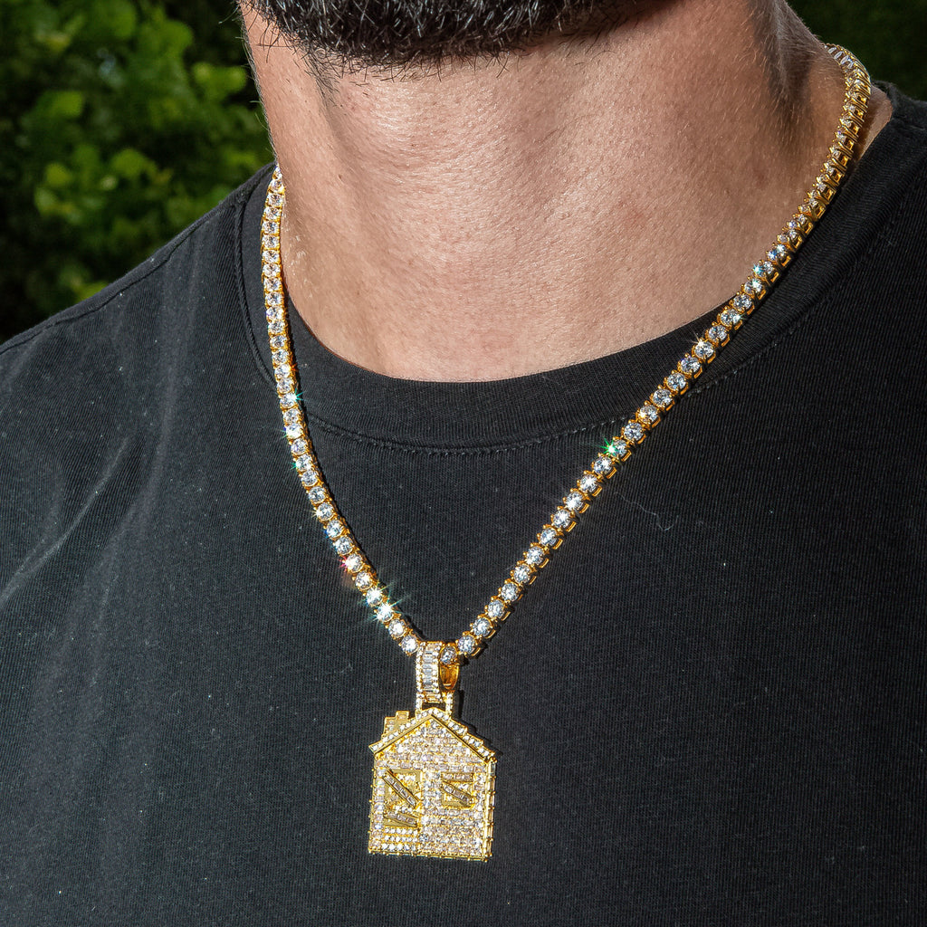 Iced Out Baguette Trap House in Yellow Gold