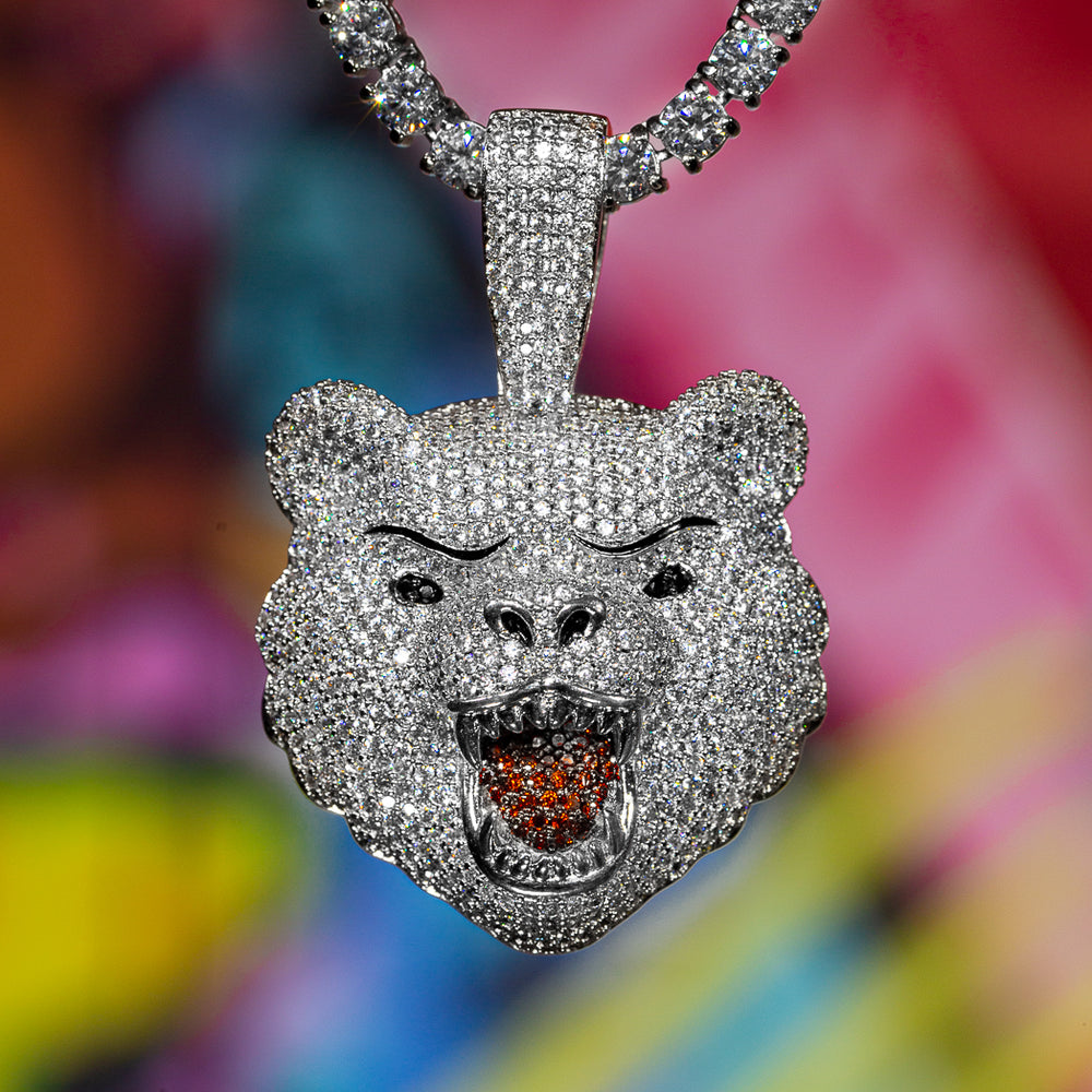 Iced Out Bear in White Gold