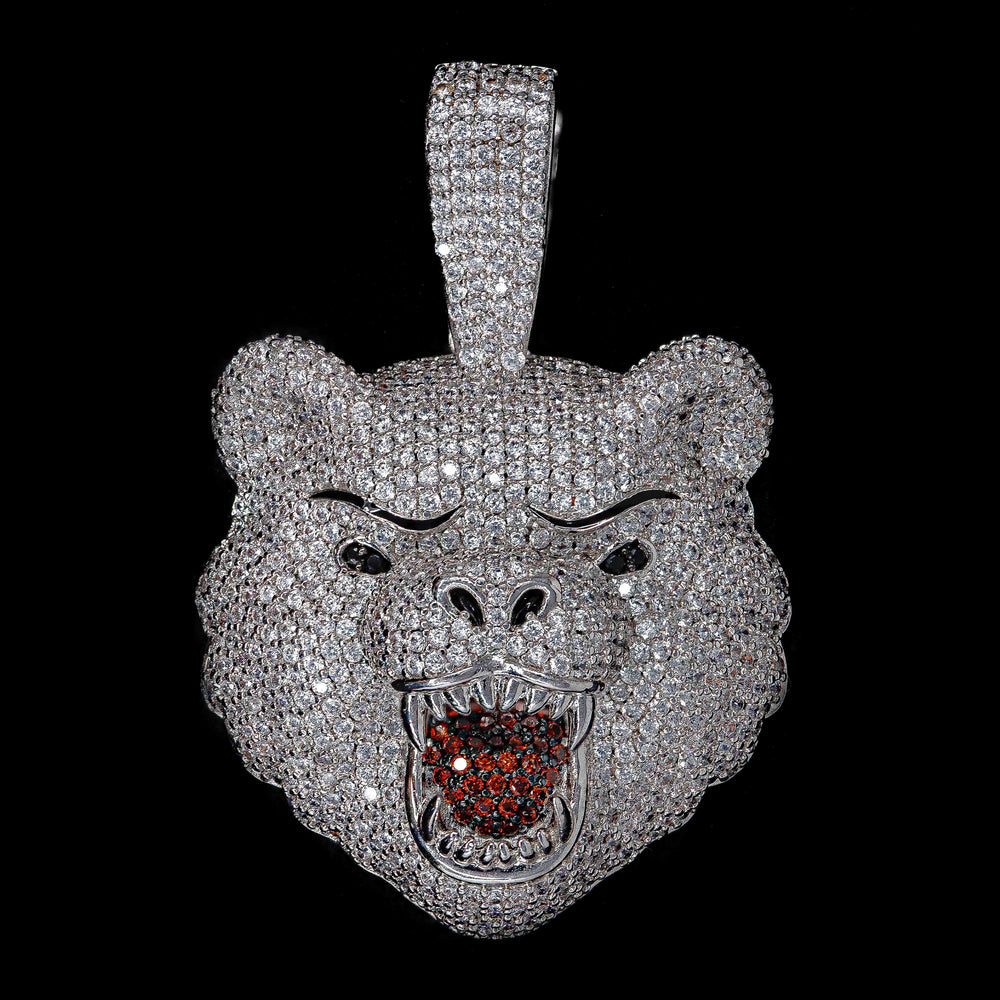 Load image into Gallery viewer, Iced Out Bear in White Gold