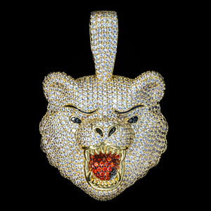 Load image into Gallery viewer, Iced Out Diamond Bear in Yellow Gold