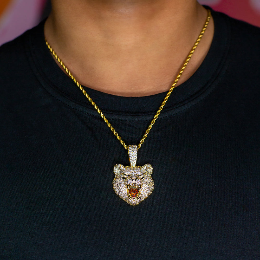 Iced Out Bear in Yellow Gold