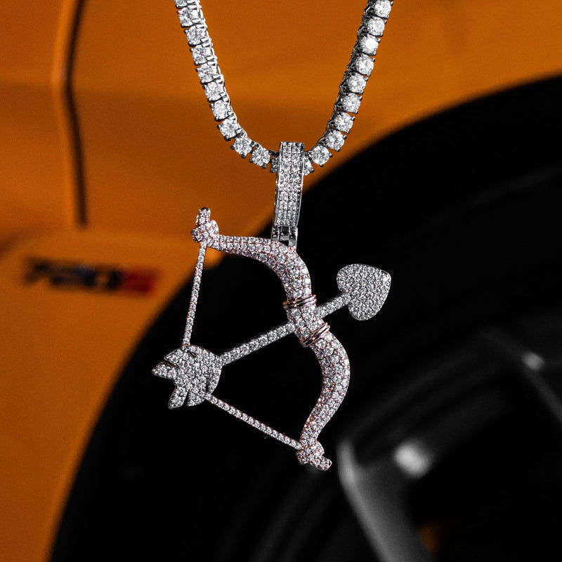 Iced Out Bow And Arrow in White & Rose Gold