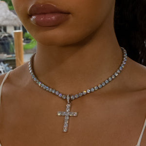 Load image into Gallery viewer, Iced Out Diamond Original Cross - White Gold