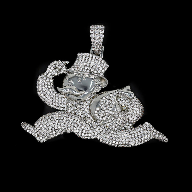 Iced Out Monopoly Man Pendant - White Gold