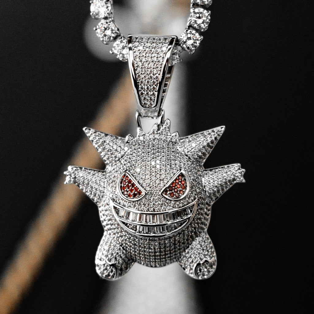Iced Out Gengar Pokemon in White Gold
