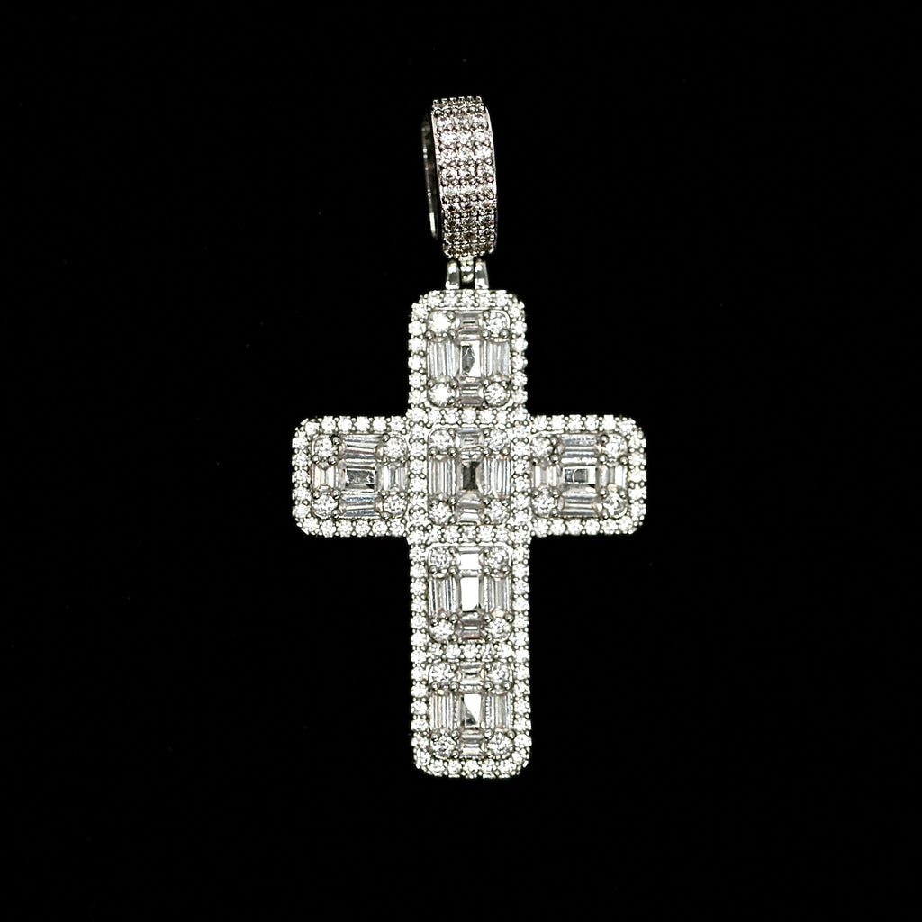 Iced Out Baguette Cross in White Gold