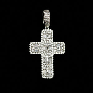 Iced Out Baguette Cross - White Gold