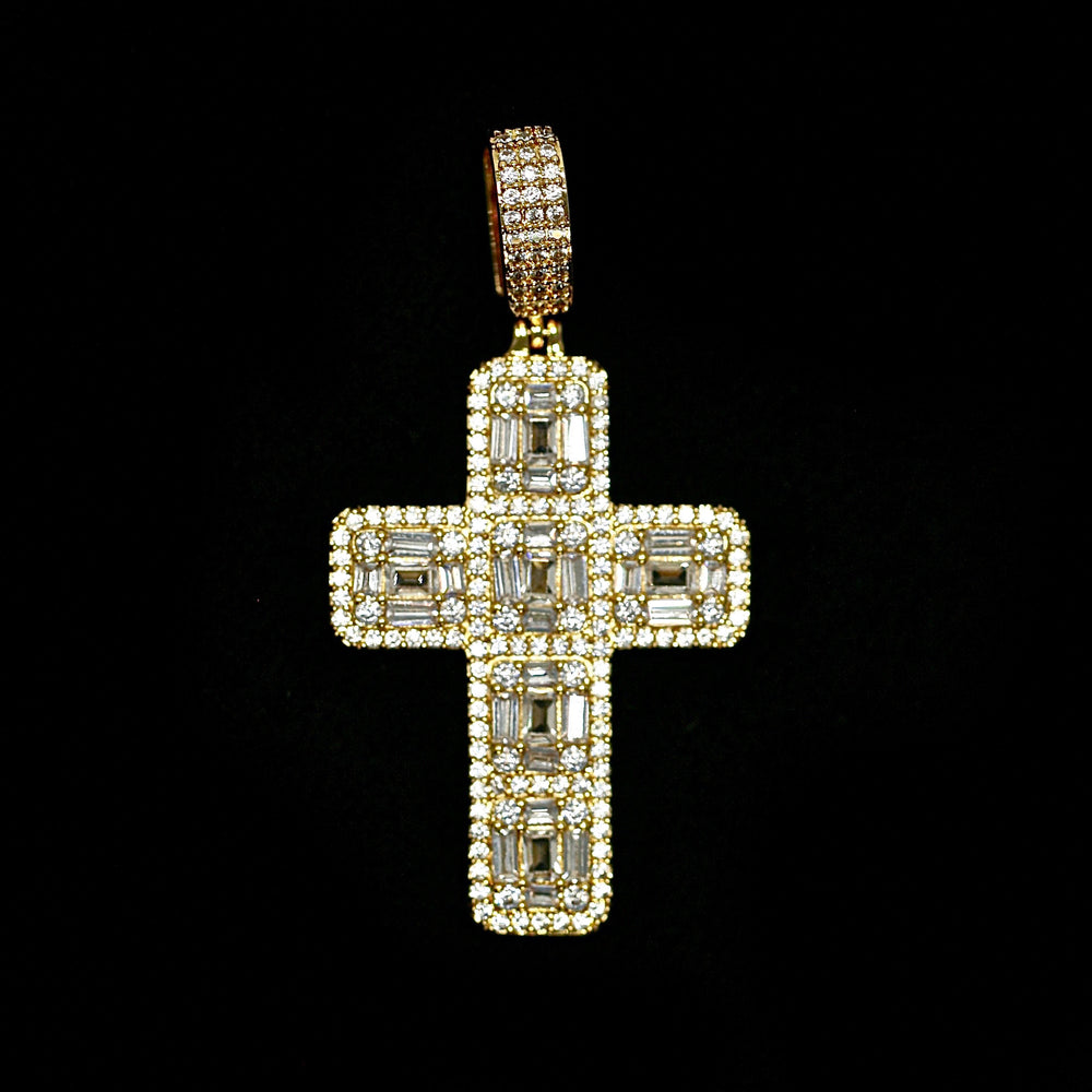 Load image into Gallery viewer, Iced Out Baguette Cross in Yellow Gold