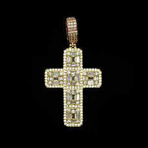 Iced Out Baguette Cross - Yellow Gold