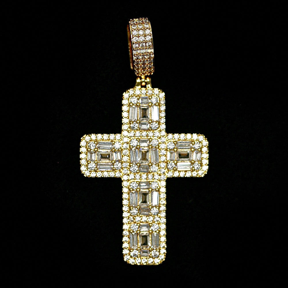 Load image into Gallery viewer, Iced Out Baguette Diamond Cross - Yellow Gold