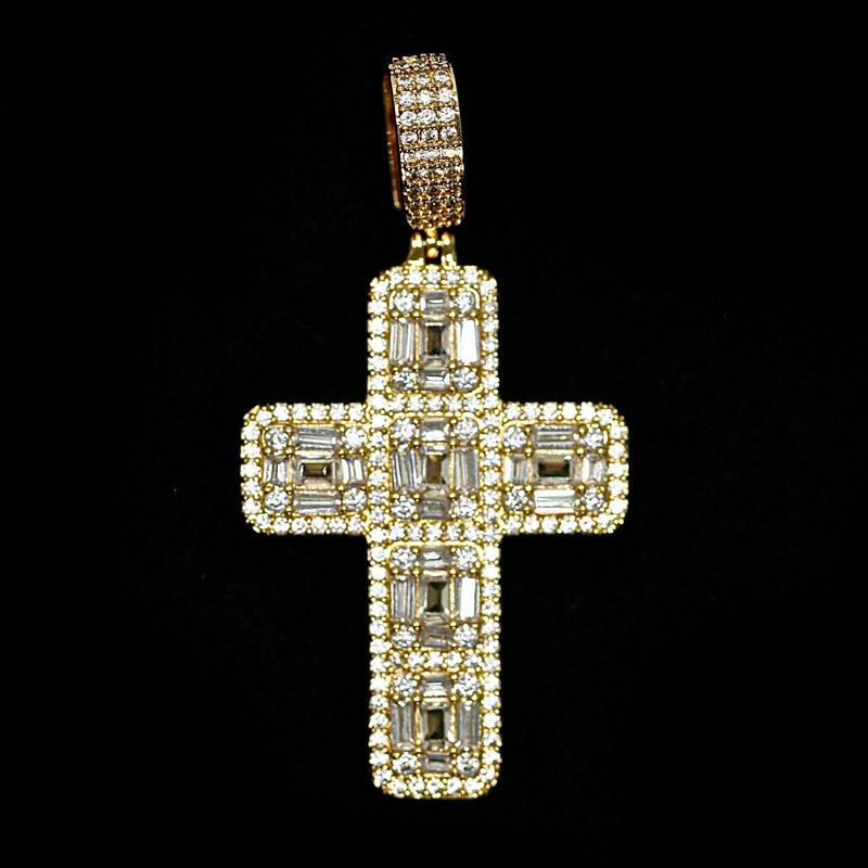 Iced Out Baguette Diamond Cross - Yellow Gold