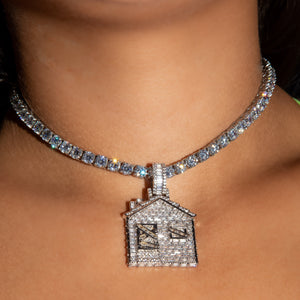 Load image into Gallery viewer, Iced Out Baguette Diamond Trap House - White Gold