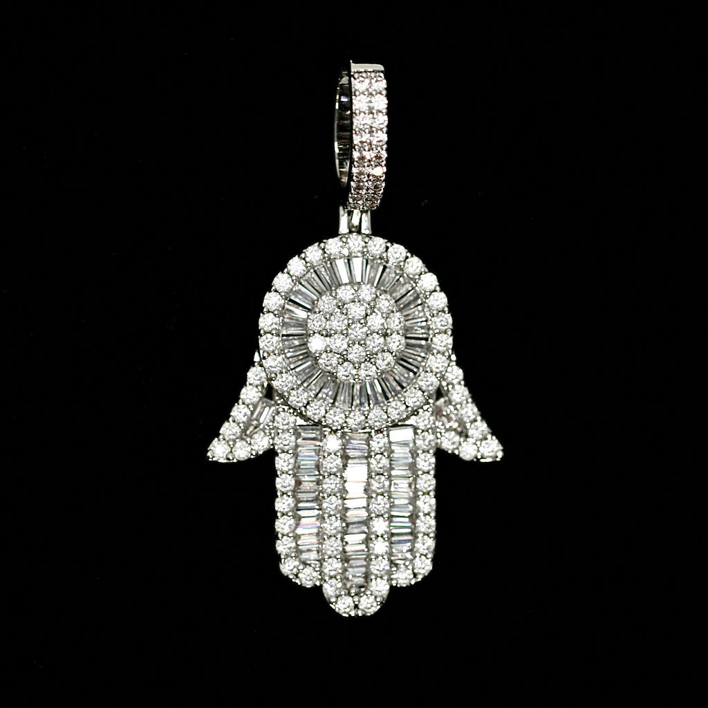Iced Out Baguette Hamsa Hand in White Gold