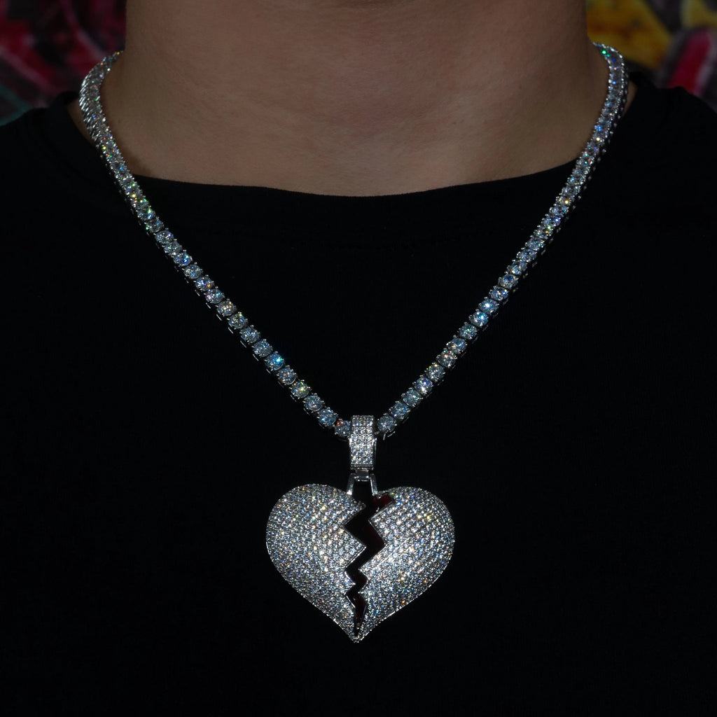 Iced Out Broken Heart in White Gold