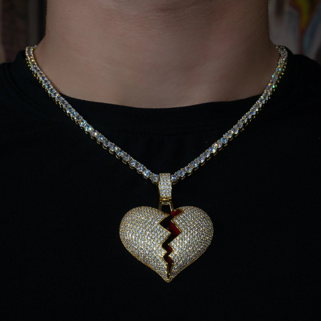 Iced Out Broken Heart in Yellow Gold