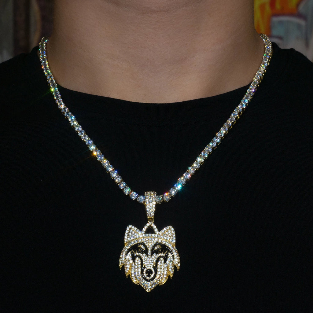 Iced Out Wolf in Yellow Gold