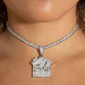 Iced Out Diamond Trap House - White Gold