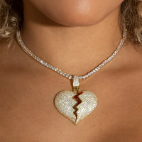Iced Out Diamond Broken Heart In Yellow Gold