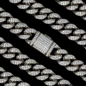 12mm White Gold Cuban Link Chain