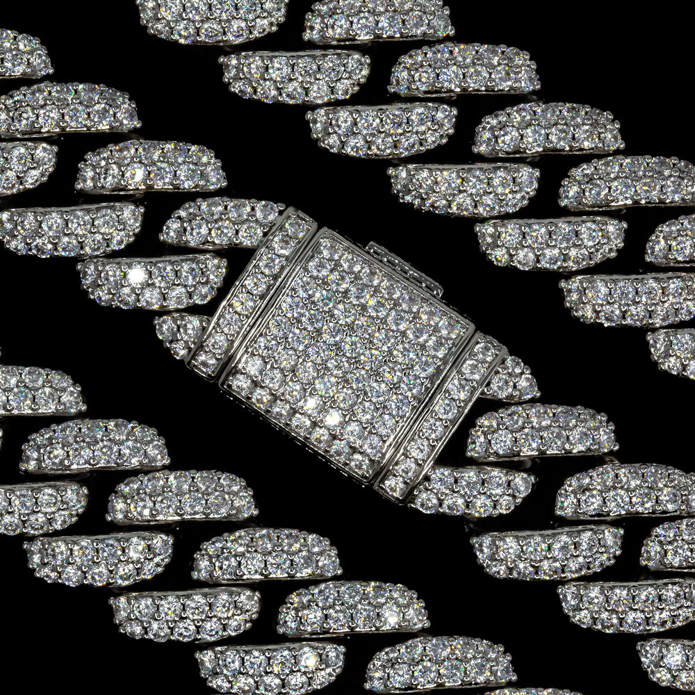 Load image into Gallery viewer, 18mm White Gold Flower Set Cuban Link Chain