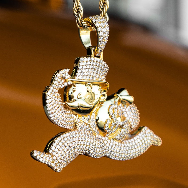 Iced Out Monopoly Man - Yellow Gold