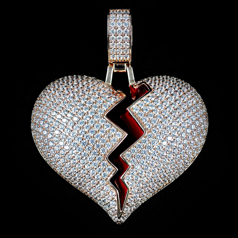 Iced Out Heart Pendant - Rose