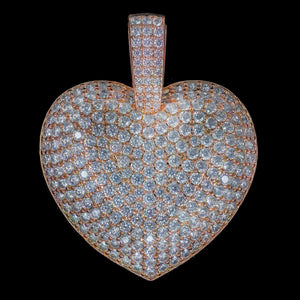 Load image into Gallery viewer, Iced Out Diamond Heart in Rose Gold