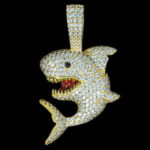Iced Out Shark in Yellow Gold